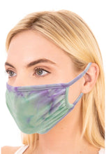 Load image into Gallery viewer, Green/Purple Tie Dye Adult Face Mask