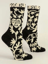 Load image into Gallery viewer, I MADE A GOOD KID - WOMEN CREW SOCKS