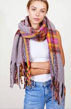 Load image into Gallery viewer, Grey Plaid Soft Oblong Scarf