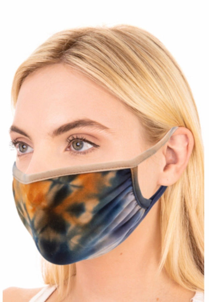 Navy Tie Dye Adult Face Mask