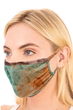 Load image into Gallery viewer, Brown/Teal Tie Dye Adult Face Mask