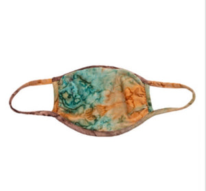 Brown/Teal Tie Dye Adult Face Mask