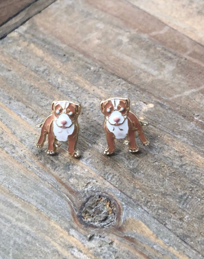 Pitbull Enamel Stud Earrings