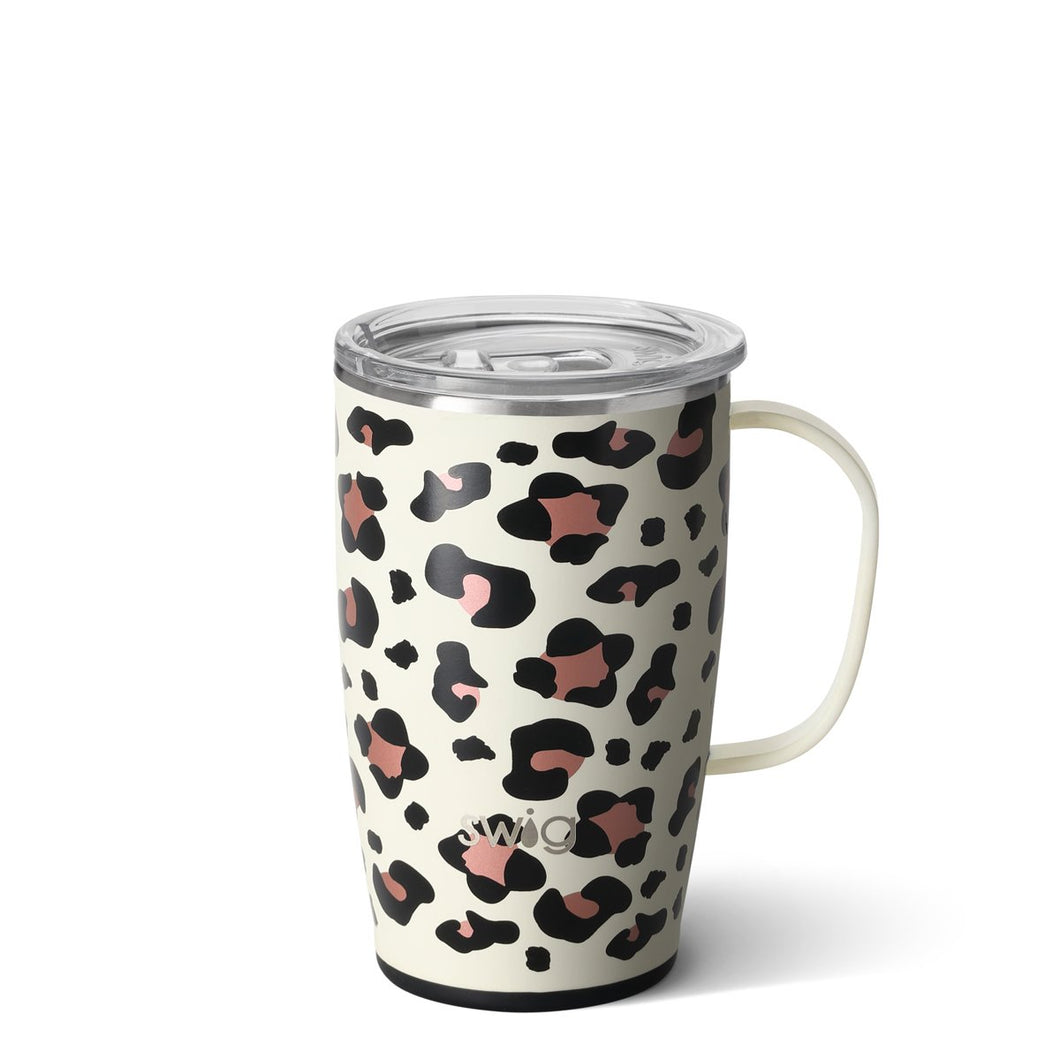 SWIG 18 OZ TRAVEL MUG - LUXY LEOPARD