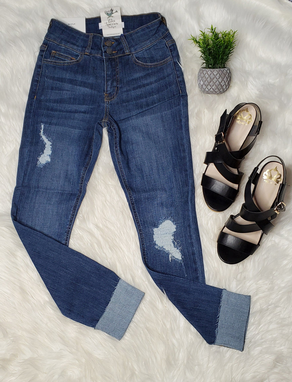 Jade Distressed Jeans - Dark