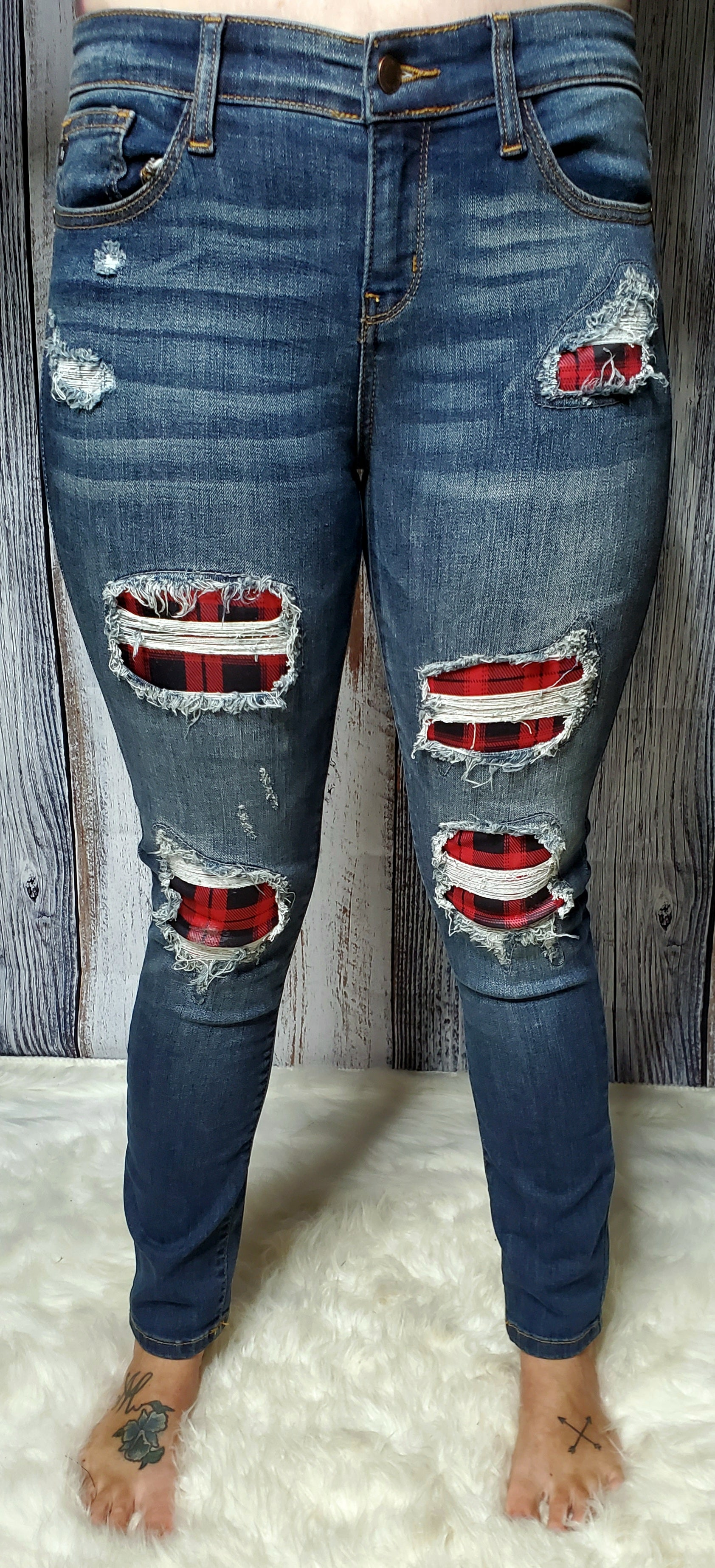 Jill Mid-Rise Buffalo Plaid Patch Jeans