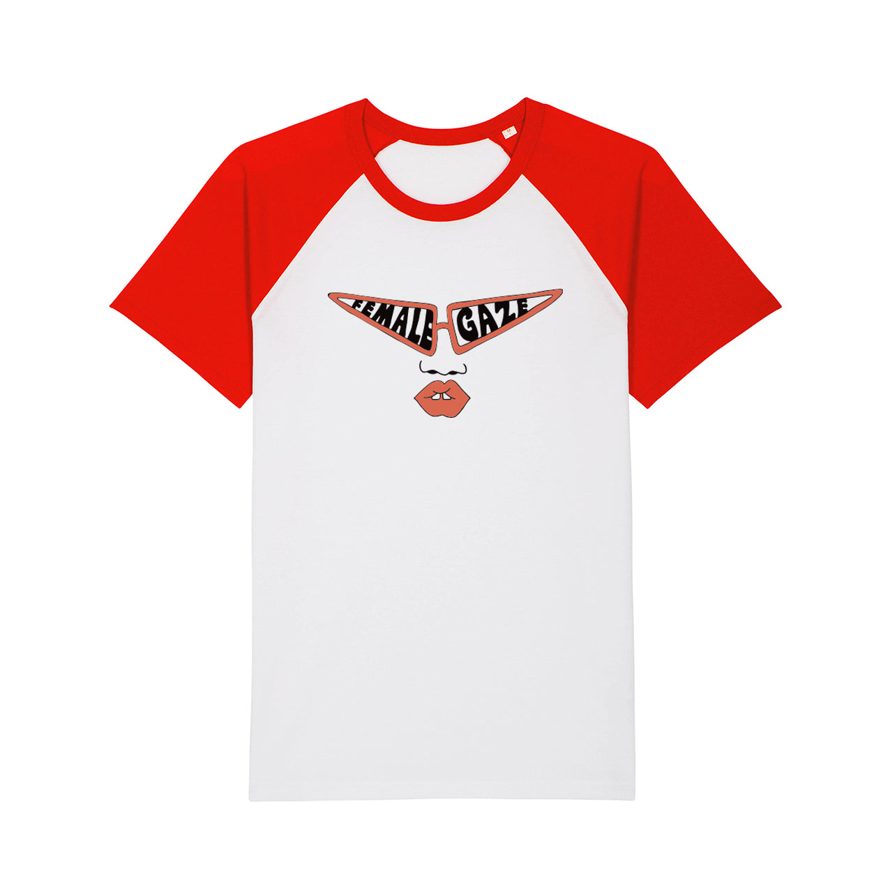 Female Gaze Baseball Tee White/Red