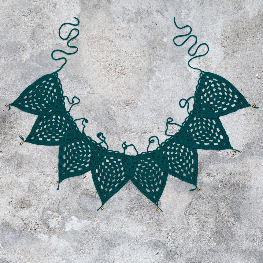Numero 74 - Bunting Garland Crochet - Teal Blue - S022