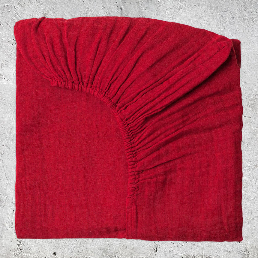 Numero 74 - Fitted Bed Sheet - Ruby Red - S027