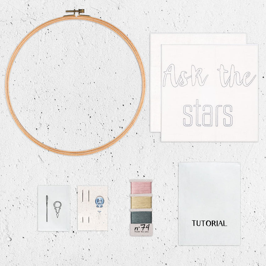 Numero 74 - Hoop Kit Quote Ask the Stars - Natural-Multicolor - D117