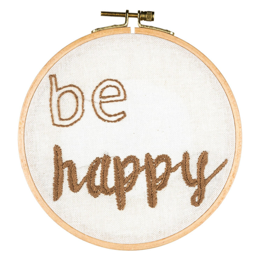 Numero 74 - Hoop Kit Quote Be Happy - Natural-Multicolor - D117