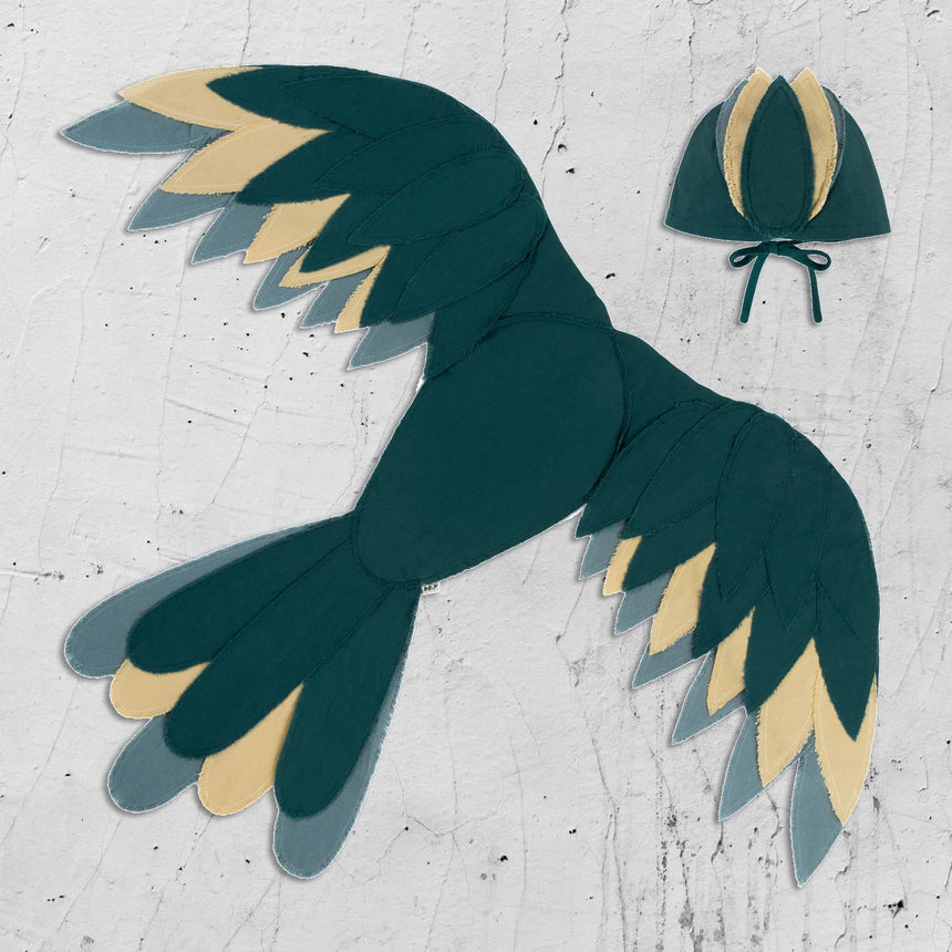Numero 74 - Phoenix Bird Wings - Teal Blue - S022