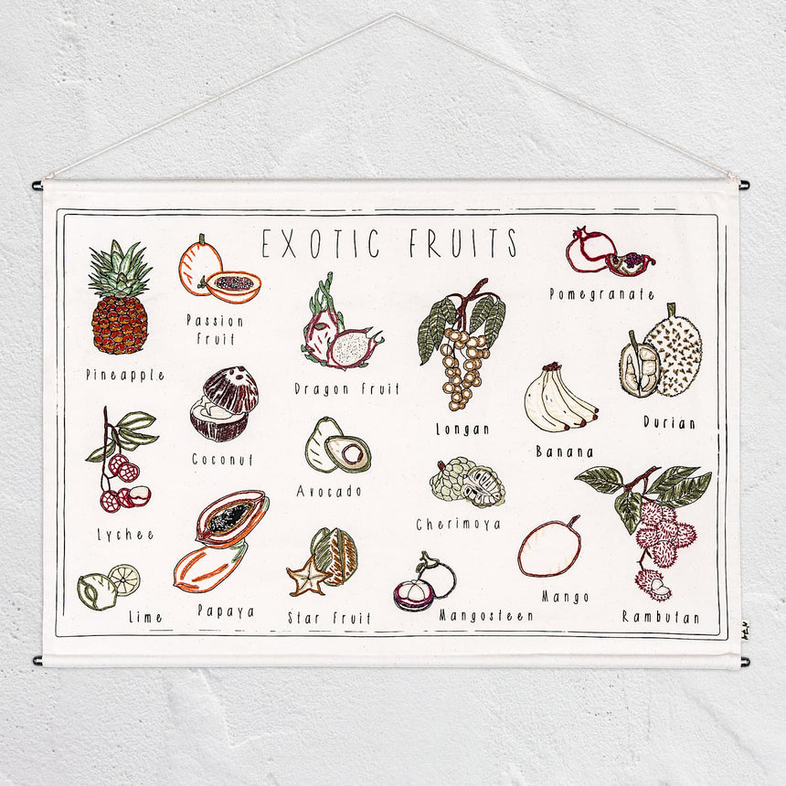 Numero 74 - School Poster Exotic Fruits - Natural - S000