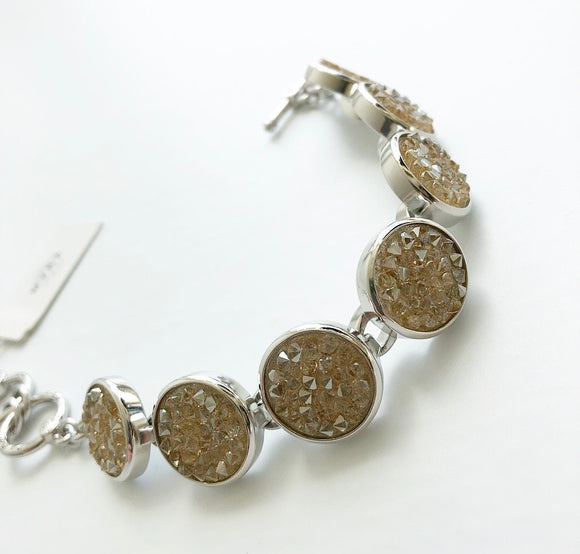 MYKA RHODIUM CRYSTAL ROCK BRACELET