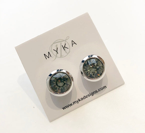 MYKA RHODIUM BKD SMALL ROUND EARRING