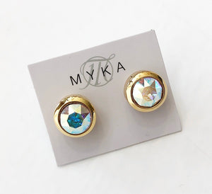MYKA BRIGHT GOLD AB SMALL ROUND EARRING
