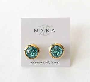 MYKA GOLD LTRQ SMALL ROUND EARRING