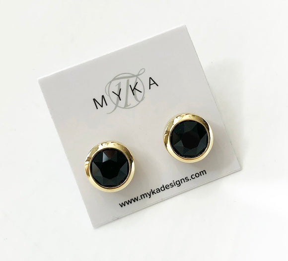 MYKA BRIGHT GOLD JET SMALL ROUND EARRING
