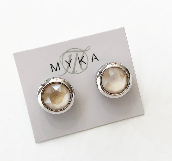 MYKA RHODIUM IVC SMALL ROUND EARRING