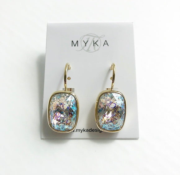 MYKA GOLD RECTANGLE EUROBACK EARRING