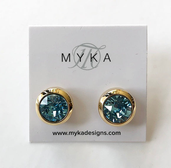 MYKA GOLD AQ SMALL ROUND EARRING