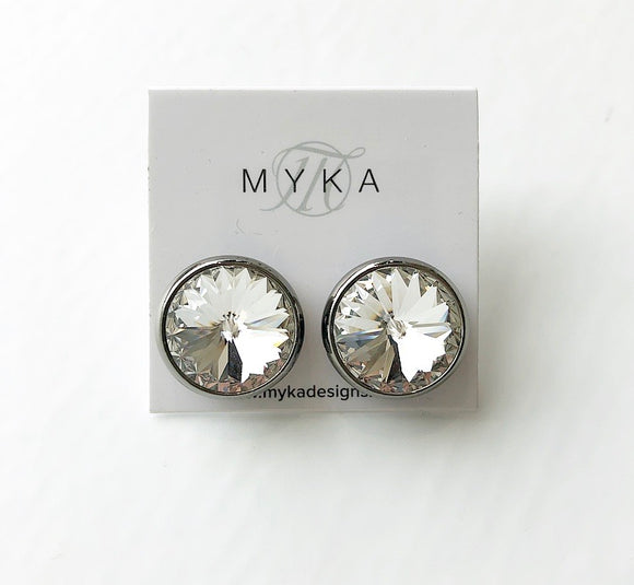 MYKA BLACK RHODIUM LARGE RIVOLI EARRING