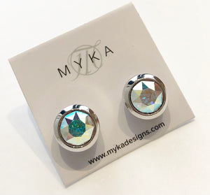 MYKA RHODIUM AB SMALL ROUND EARRING