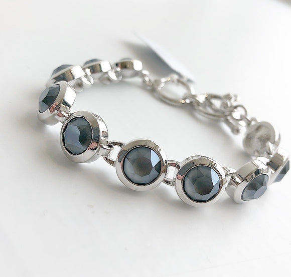MYKA RHODIUM SMALL ROUND DARK GREY BRACELET
