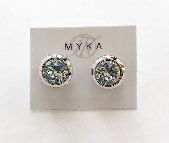 MYKA RHODIUM LTAZ SMALL ROUND EARRING