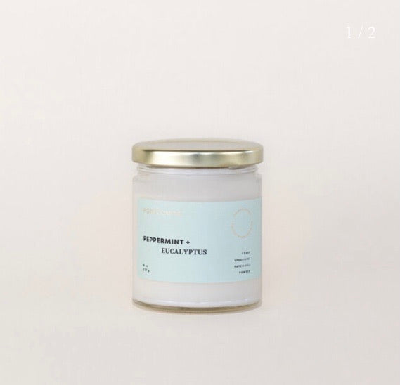 HOMECOMING PEPPERMINT + EUCALYPTUS SOY WAX CANDLE