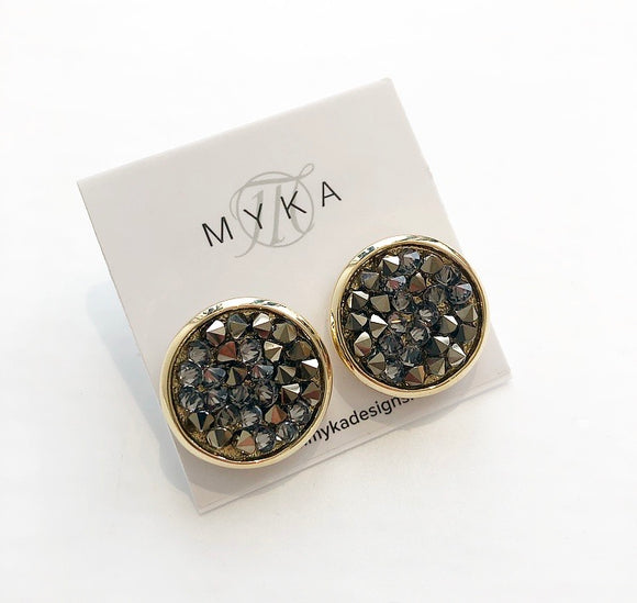 MYKA GOLD CMLG CRYSTAL ROCK EARRING