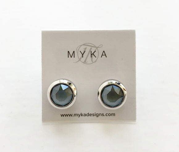 MYKA RHODIUM DKGR SMALL ROUND EARRING