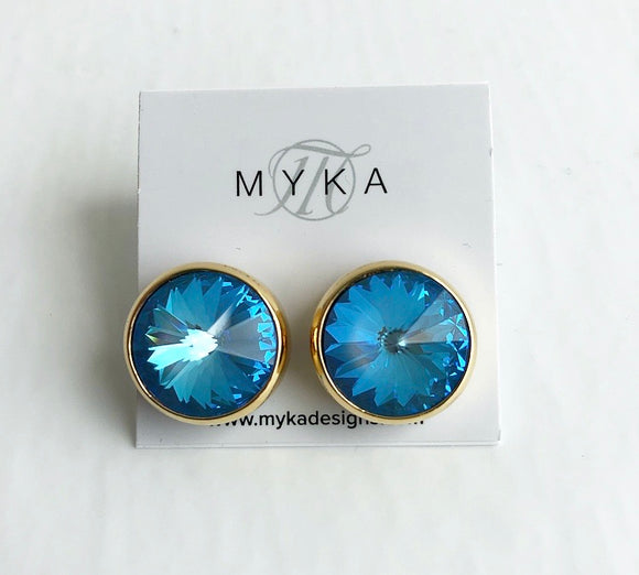 MYKA GOLD LARGE RIVOLI EARRING