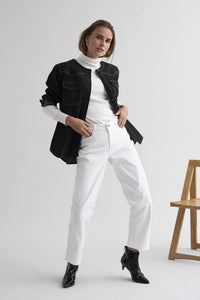 KAFFE MARLY CROPPED STRAIGHT WHITE JEANS