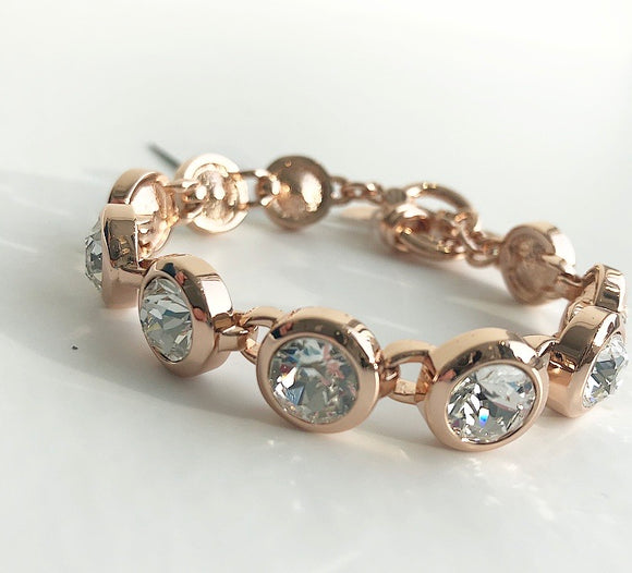 MYKA ROSE GOLD CRYSTAL SMALL ROUND BRACELET