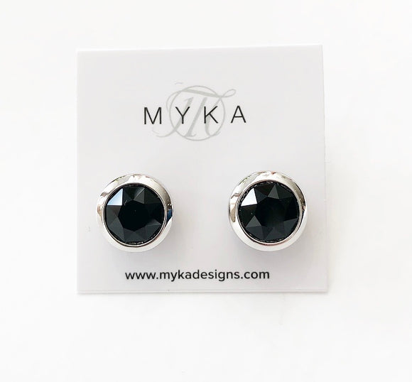 MYKA RHODIUM JET SMALL ROUND EARRING