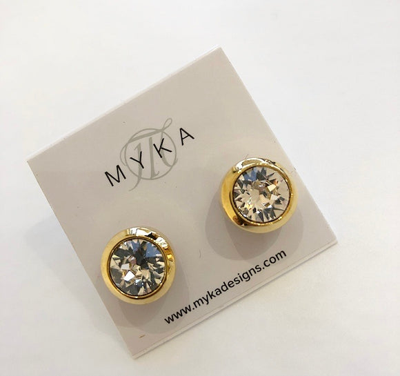 MYKA GOLD SMALL ROUND CRYSTAL EARRING