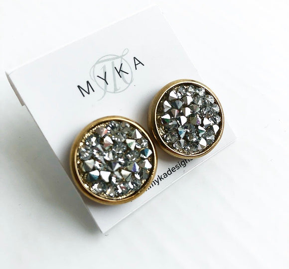 MYKA GOLD CRYSTAL ROCK EARRING
