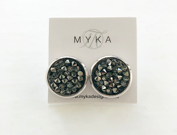 MYKA RHODIUM METSI CRYSTAL ROCK EARRING