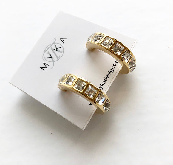 MYKA GOLD SQUARE CRYSTAL HOOP