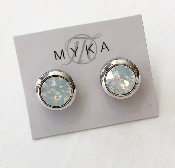 MYKA RHODIUM WO SMALL ROUND EARRING