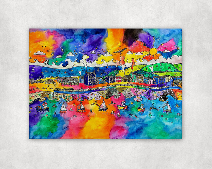 Aberaeron Colourful View for a Red Kite Printed Canvas