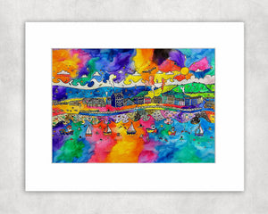 Aberaeron Colourful View for a Red Kite Mounted Print