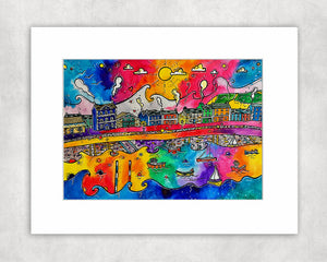 Aberaeron Sunshine Harbour Mounted Print