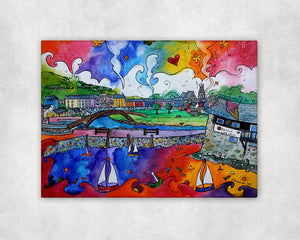 Aberaeron Colourful Harbour Printed Canvas