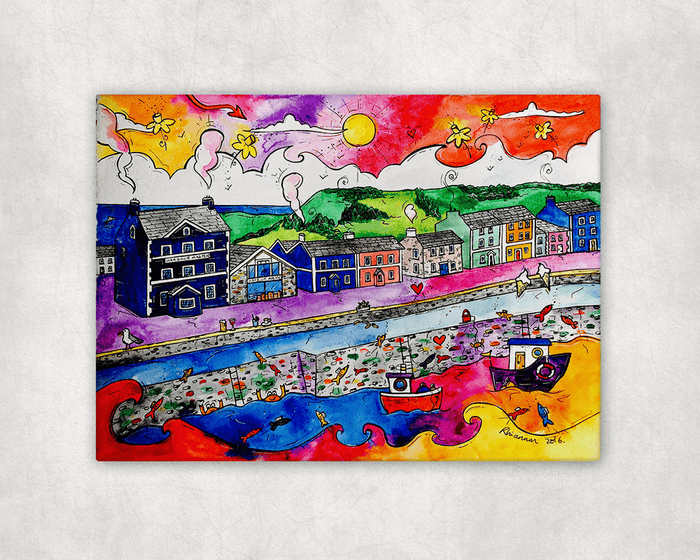 Aberaeron Summer Harbour Printed Canvas