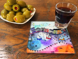 Aberaeron Rainbow Flags Glass Coaster