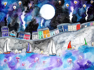 Aberaeron Starry Starry Night Mounted Print