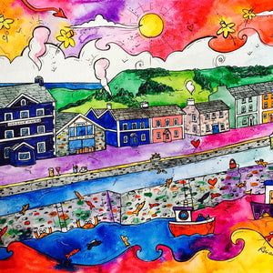 Aberaeron Summer Harbour Mounted Print