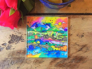Abergavenny Happy Town Glass Coaster